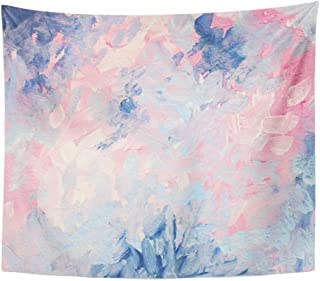 TOMPOP Tapestry Watercolor Chic Abstract Gouache Painting Dreamy Elegant and Cheerful Pink Blue Abstraction Hand Modern Home Decor Wall Hanging for Living Room Bedroom Dorm 50x60 Inches