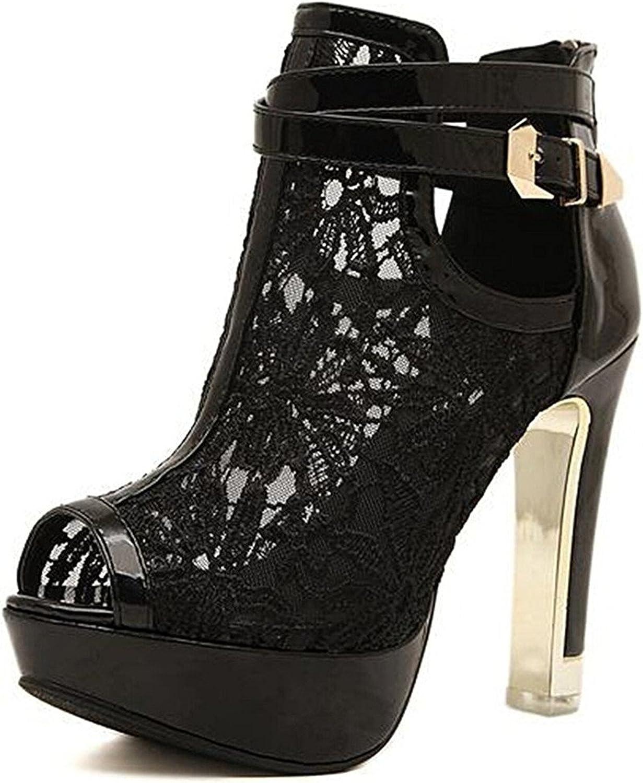 Oppicong Women's Crochet High Heel Sandal Ankle Open Toe Platform Pump shoes