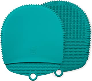 The Ultimate Pot Holders & Oven Mitts. 100% Silicone Mitt is Healthier Than Cotton & Easier to Clean. Won't Grow Mold or Bacteria, Patented Design Makes it Safe, Non-Slip, Flexible (Teal, 1 Pair)