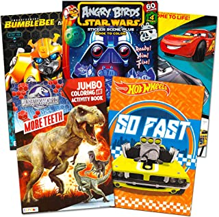 Coloring Books for Boys Super Set ~ Bundle Includes 5 Books and Race Car Stickers (Hot Wheels, Transformers, Blaze, Jurass...