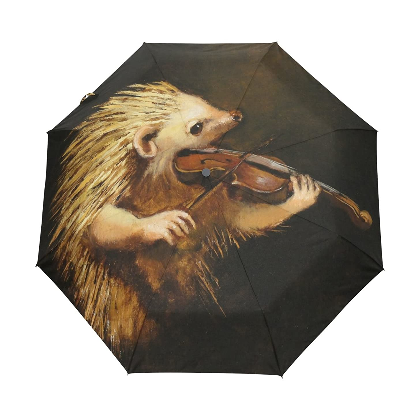 Ethel Ernest Folding Windproof Umbrella Hedgehog Playing Violin Waterproof Auto Foldable Umbrella