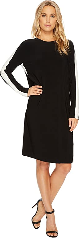 KAMALIKULTURE by Norma Kamali - Side Stripe Long Sleeve Crew Dress to Knee