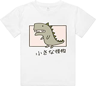 Youth Short Sleeve T-Shirt Little Moster Shirt Cartoon Graphic Tees with Cute Design for Teen Girls and Boys White Tops-M