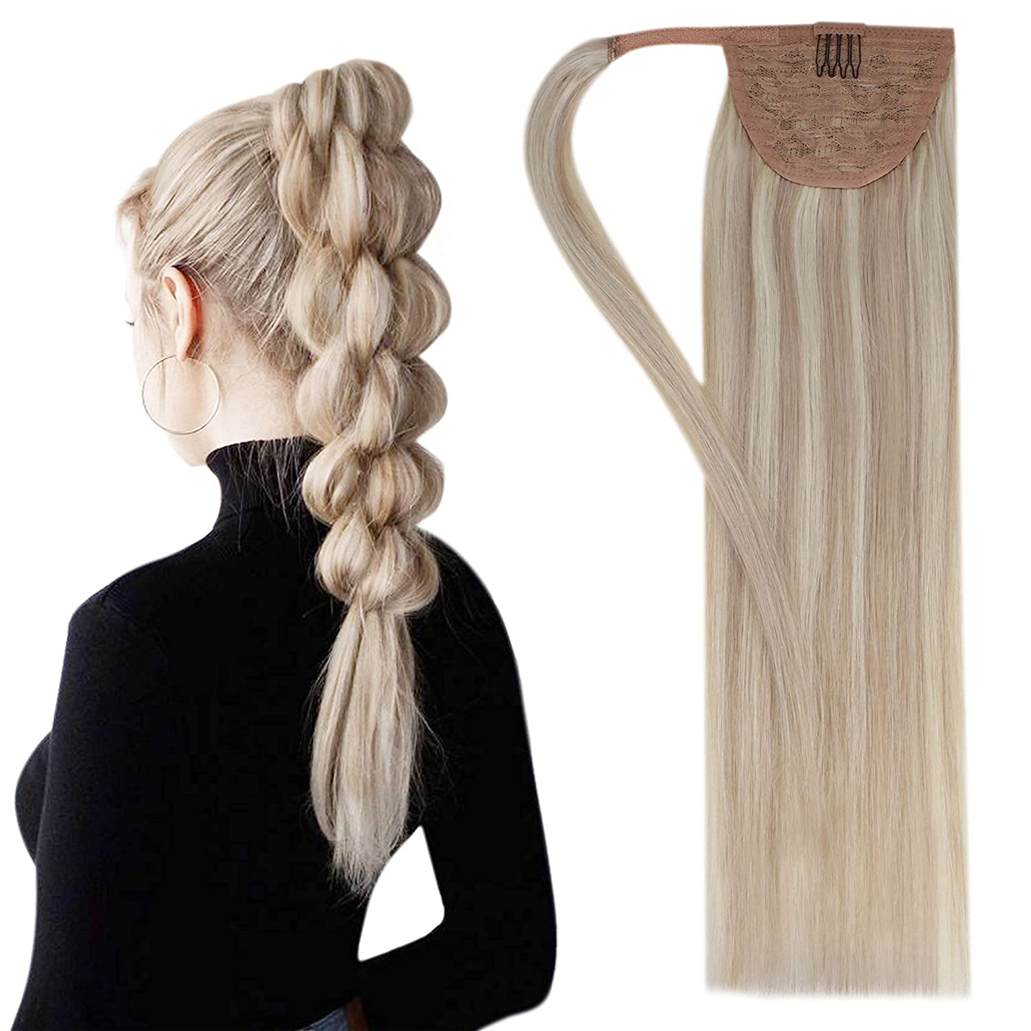 Easyouth Ponytail unisex Hair Extensions Remy Human OFFer Blond Ash Dark