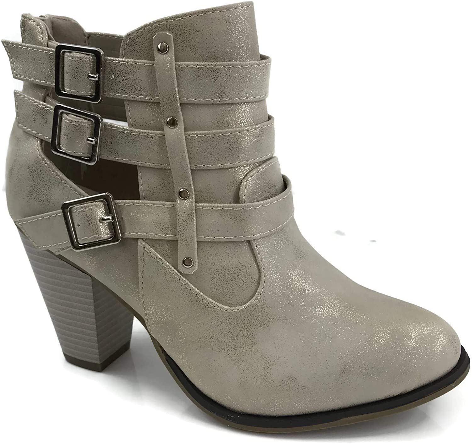 Women's Short Ankle Riding Boots with Chunky Heel Bootie Three Buckled Strap