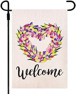 Doncida Welcome Tulips Love Heart Spring Garden Flag Double Sided Watercolor Flowers Garden Flag, Burlap Yard Flag Seasona...