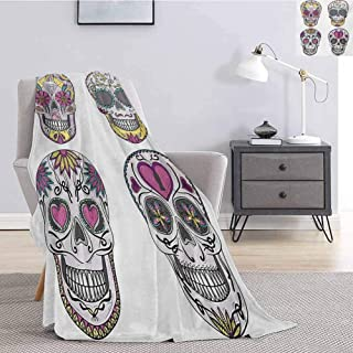 Luoiaax Skull Bedding Fleece Blanket Queen Size Colorful Ornate Mexican Sugar Skull Set with Flower and Heart Pattern Calavera Humor Super Soft Cozy Queen Blanket W70 x L93 Inch Multicolor