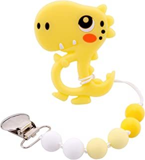 Promise Babe Bpa Free Pacifier Clip Soft Chewing Beads Dinosaur Pendant Accessory Food Grade Dummy Clip Binky Holder Baby Shower Gift