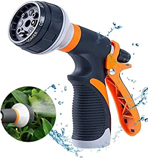 TUKNON Garden Hose Nozzle, Hose Spray Nozzle, Water Hose Nozzle with 8 Adjustable Watering Patterns, Hose Nozzle for Watering Plants, Cleaning, Car Wash and Showering Pets
