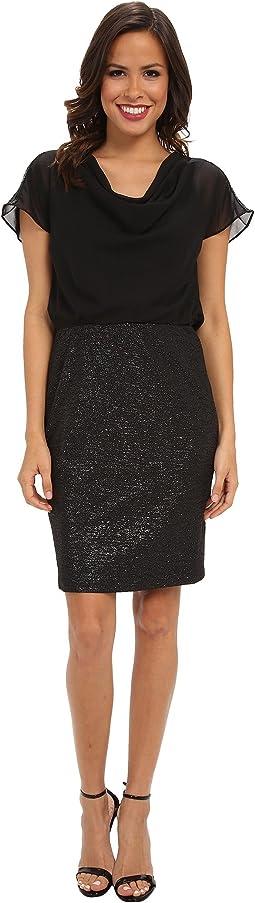 Cowl Neck Blouson Texture Skirt