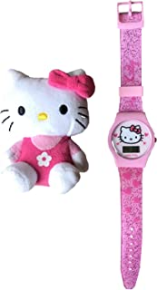 Hello Kitty Pink Digital Watch with Silicone Strap and Hello Kitty Toy