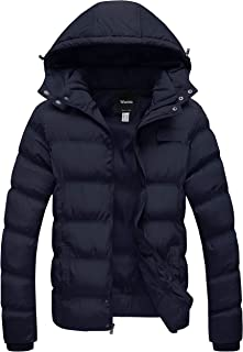 Wantdo Men's Winter Coat Warm Puffer Jacket Thicken Cotton Coat with Removable Hood