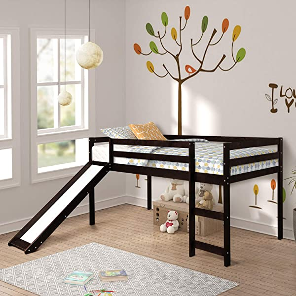Loft Bed Rockjame Twin Wood Kids Bed With Slide Multifunctional Design For Boys Girls And Young Teens Espresso