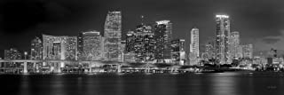 Miami Skyline PHOTO PRINT UNFRAMED NIGHT Black & White BW Downtown City 11.75 inches x 36 inches Photographic Panorama Poster Picture Standard Size
