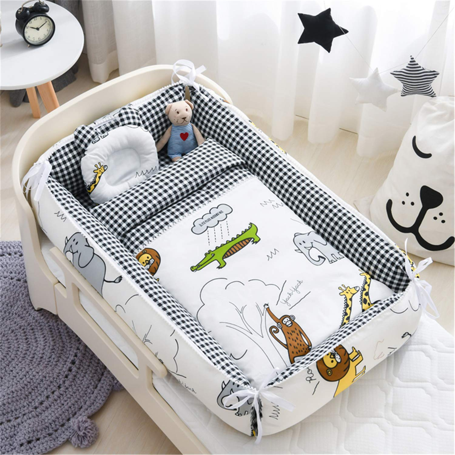 Abreeze Baby Bassinet for Bed, Lion Baby Lounger Comforter,Baby Nest,Cotton Crib Breathable Baby Nest Co-Sleeping Baby Bed,100% Cotton Portable Crib Pillow for Bedroom/Travel/Camping