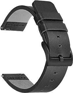 TRUMiRR for Sunnto Traverse/Traverse Alpha Bands, 24mm Genuine Oily Leather Watchband Quick Release Strap Stainless Steel Clasp Bracelet for Suunto 9/Spartan Sport Wrist HR/Ambit 3 Vertical