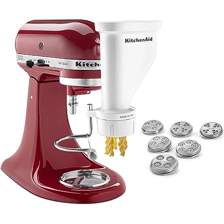KitchenAid KSMPEXTA Gourmet Pasta Press Attachment with 6 Interchangeable Pasta Plates, White