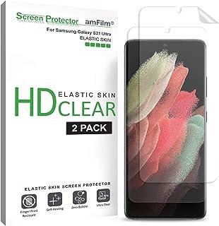 """amFilm (2 Pack) Skärmskydd för Samsung Galaxy S21 Ultra (6.8"""") - Fodralvänligt (Enkel Installation) HD Klar Elastik TPU Sk..."""