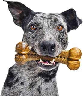 Pet Qwerks Alien BarkBone, USA-Sourced Beef Stew Human-grade Flavor - Nylon Chew Toy for Aggressive Chewers, Tough Durable...