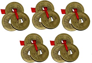 Divya Mantra Chinese Feng Shui Antique Fortune I-Ching Coin Ornaments for Good Luck, Success & Prosperity/Ancient Tibetan Buddhist Wealth Charm Amulet Coins w/ Hole & Red Knot – Brown, Set of 5