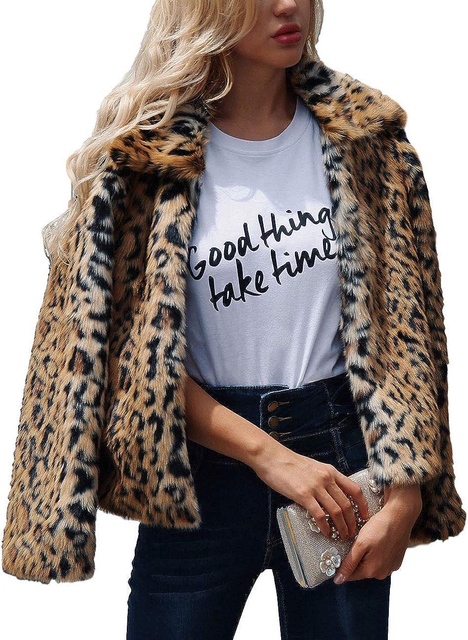 ZLSLZ Womens Ladies Cute Leopard Lapel Luxury goods Faux Fur Long Even Sleeve Mesa Mall