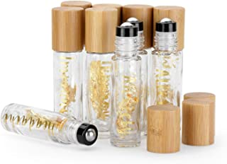 10 Pack 10ml Pretty Roll On Bottle for Oils,Empty Glass Essential Oil Roller Bottle With Bamboo Cap,Unique Stainless Steel...