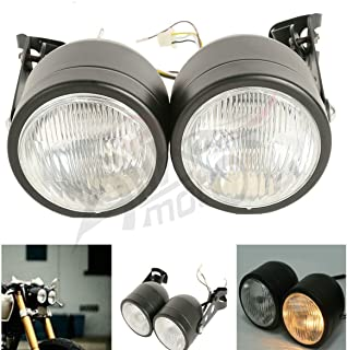 ALPHA MOTO Twin Front Headlights & Brackets For Harley Dual Sport Motorcycle Street Fighter