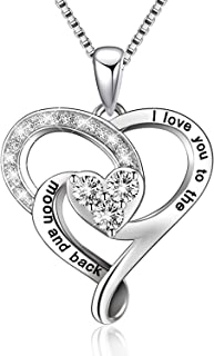 BGTY Sterling Silver I Love You to The Moon and Back Pendant Necklace
