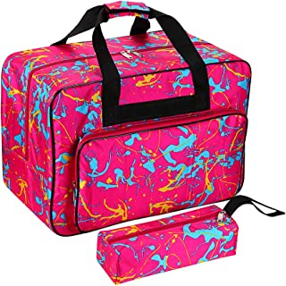 BTSKY Sewing Machine Carrying Case, Universal Sewing Machine Tote (Small Bag Pink)