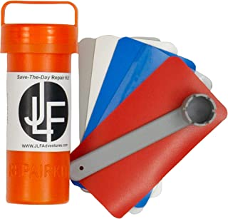 JLF Repair Kit for Inflatable Stand Up Paddle Boards (SUP)   Includes Red, White, Blue, Clear Grey PVC and Wrench (No Adhe...