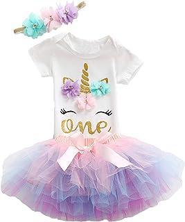 Baby Girls 1st Birthday Outfits Set Newborn Unicorn Tutu Skirt, 3PCS