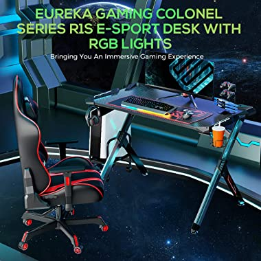 Eureka Ergonomic R1-S Gaming Desk - Gaming Computer Desk, Gaming Table PC Gamers Desk with RGB Lights, Carbon Fiber Texture D
