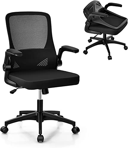 Giantex Ergonomic Office Chair w/Foldable Backrest, Mid Back Mesh Chair with Lumbar Support, Flip up Arms, Swivel Rolling Executive Task Chair Computer Desk Chair for Home Meeting Room (Black)
