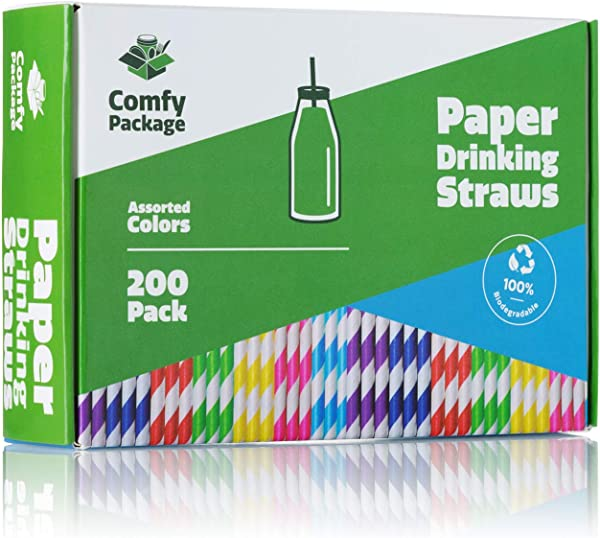Paper Drinking Straws 200 Pack 100 Biodegradable Assorted Colors