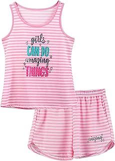 بيجامة بدون أكمام للفتيات - مقاس 6 8 10 12 14 16 18 مجموعة ملابس أطفال كبيرة للتوائم / المراهقين