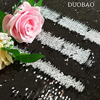 DUOBAO Sewing Fabric by The Yard Black to White Changing Color Fabric Reversible Sequin Fabric for Wedding Dress Reversible Sequin Pillow Fabric