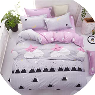 Grey Bedding Set 2018 Summer Bed Linens 3Or 4Pcs/Set Duvet Cover Set Pastoral Bed Set Kids/Adult Bedding Bedclothes Queen Kin,Love Grey,Twin