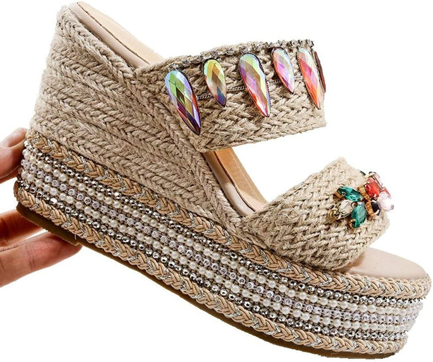 JQfashion Women's High-Heeled Sandals Diamond Nailed Beads Hemp Rope Slippers Sandy Beach Slippers with Thick Soles