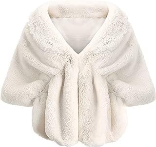 Coucoland Kunst Pelz Schal Damen Flauschig Faux Pelz Umschlagtuch Warm Kragen für Wintermantel 1920s Accessoires Gatsby Kostüm Zubehör