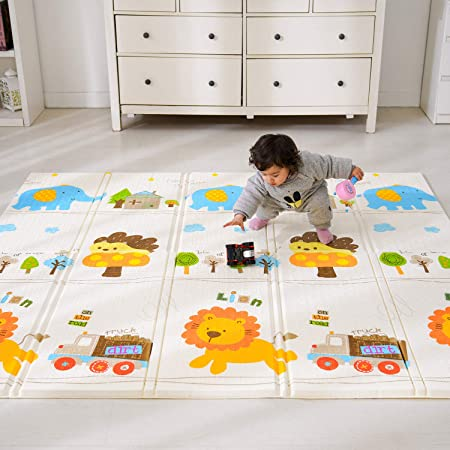 Bammax Alfombra de Juegos para Bebé Plegable, Colchoneta Infantil de Números y Dibujos Animados, Suelo Bebe de XPE, Alfombra de Doble Cara, Alfombra Impermeable, 197 x 177 cm,Grueso (1.5cm), No Tóxico