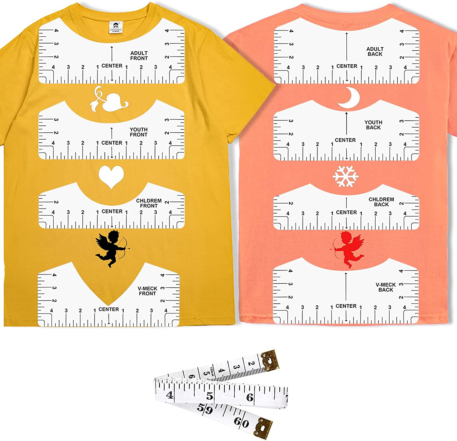 9pcs T-Shirt Brand new New mail order Ruler Guide to Design Center Tool,Ts Alignment
