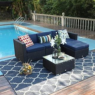 PHI VILLA Outdoor Rattan Sectional Sofa- Patio Wicker Furniture Set (5-Piece, Blue)