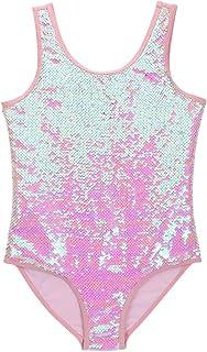 ESTAMICO Girls One Piece Glitter Sequins Swimwear Fish Scale Swimsuit Fashion Bathing Sui, Pink 5