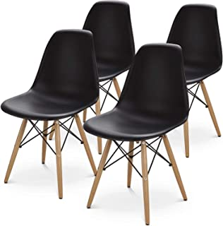 BUTII Set of 4 Mid Century Modern Style Dining Chair Side Chairs with Natural Wood Legs,Easy Assemble for Kitchen Dining Room,Living Room,Bedroom(Black)