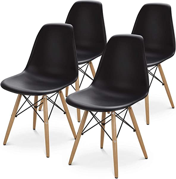 BUTII Set Of 4 Mid Century Modern Style Dining Chair Side Chairs With Natural Wood Legs Easy Assemble For Kitchen Dining Room Living Room Bedroom Black