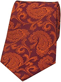 David Van Hagen Mens Luxury Paisley Silk Tie - Rust Orange