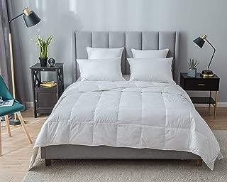 Eastwarmth Luxurious Lightweight Summer Goose Down Comforter/Blanket Duvet Insert Solid White 100% Organic Cotton King Size