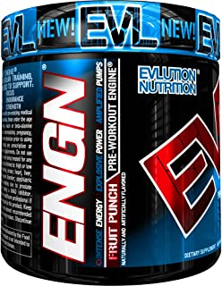 Evlution Nutrition ENGN Pre-Workout, Pikatropin-Free, 30 Servings, Intense Pre-Workout Powder for Increased Energy, Power, and Focus (Fruit Punch)