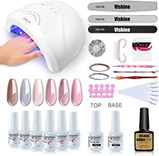 Vishine Gel Nail Polish Starter Kit with 48W SUNOne UV LED Nail Lamp Speed Dryer Manicure Tools 6 Pretty Colors Gel Polish Base and Top Coat #02