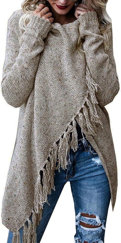 FZ FANTASTIC ZONE Women's Long Sleeve Speckled Fringe Open Front Cardigan Sweaters for Women